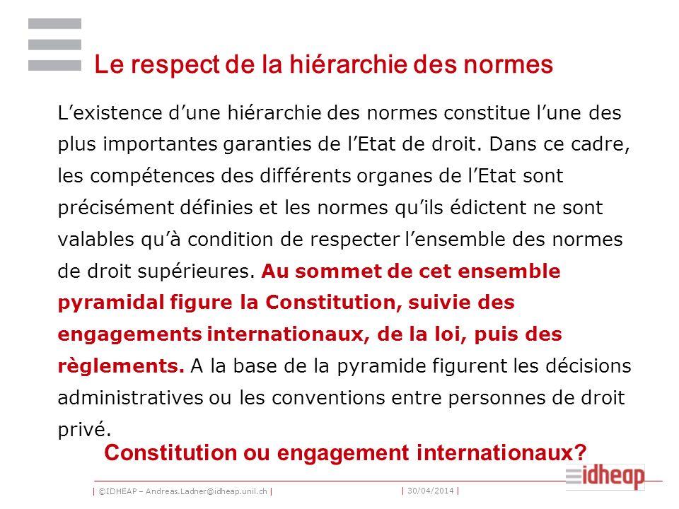 | ©IDHEAP – Andreas.Ladner@idheap.unil.ch | | 30/04/2014 | Le respect de la hiérarchie des normes Lexistence dune hiérarchie des normes constitue lune des plus importantes garanties de lEtat de droit.