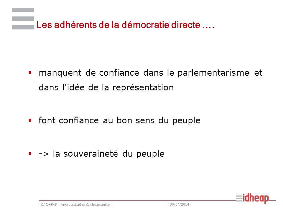 | ©IDHEAP – Andreas.Ladner@idheap.unil.ch | | 30/04/2014 | Les adhérents de la démocratie directe ….