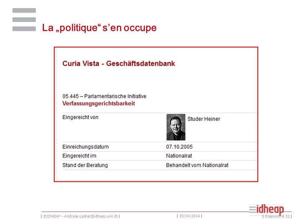 | ©IDHEAP – Andreas.Ladner@idheap.unil.ch | | 30/04/2014 | La politique sen occupe | Diapositive 32 |