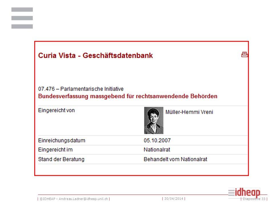 | ©IDHEAP – Andreas.Ladner@idheap.unil.ch | | 30/04/2014 | | Diapositive 33 |