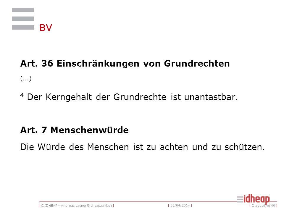 | ©IDHEAP – Andreas.Ladner@idheap.unil.ch | | 30/04/2014 | BV Art.