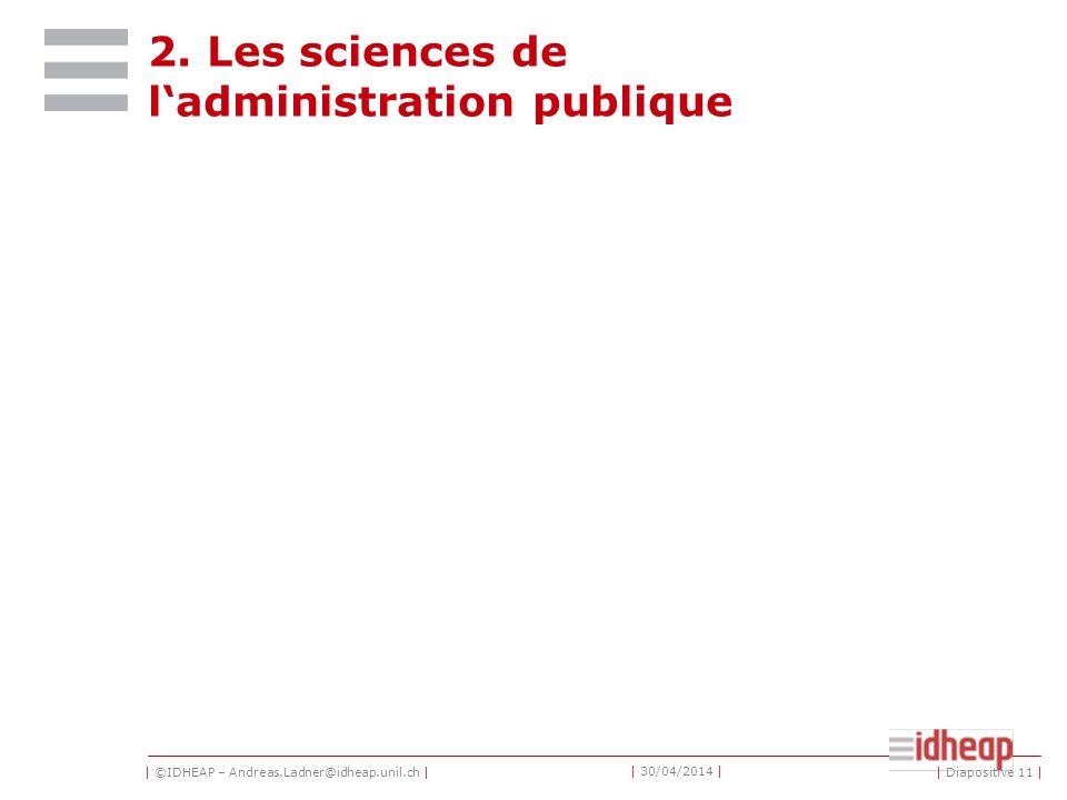 | ©IDHEAP – Andreas.Ladner@idheap.unil.ch | | 30/04/2014 | Les sous-disciplines Système politique suisse/les institutions Les sciences politiques comp