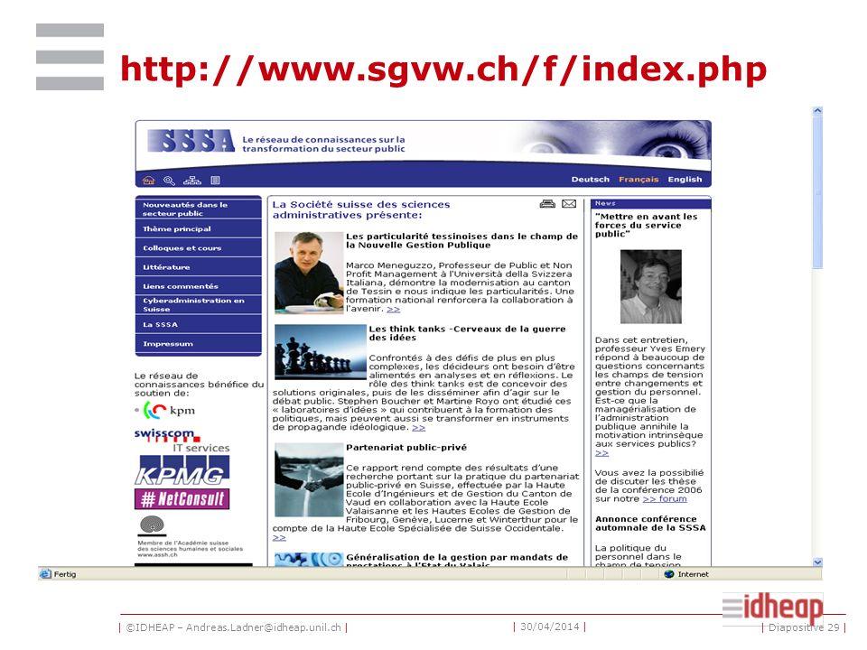| ©IDHEAP – Andreas.Ladner@idheap.unil.ch | | 30/04/2014 | http://www.sagw.ch/frz/ | Diapositive 28 |
