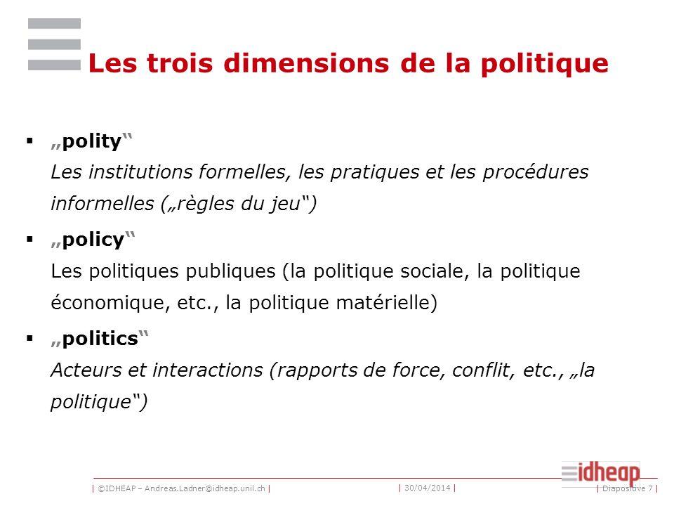 | ©IDHEAP – Andreas.Ladner@idheap.unil.ch | | 30/04/2014 | La politique cest la quête du pouvoir ou bien linfluence sur la distribution du pouvoir, que ce soit à lintérieur dun État ou parmi des groupes entourés par celui-ci.