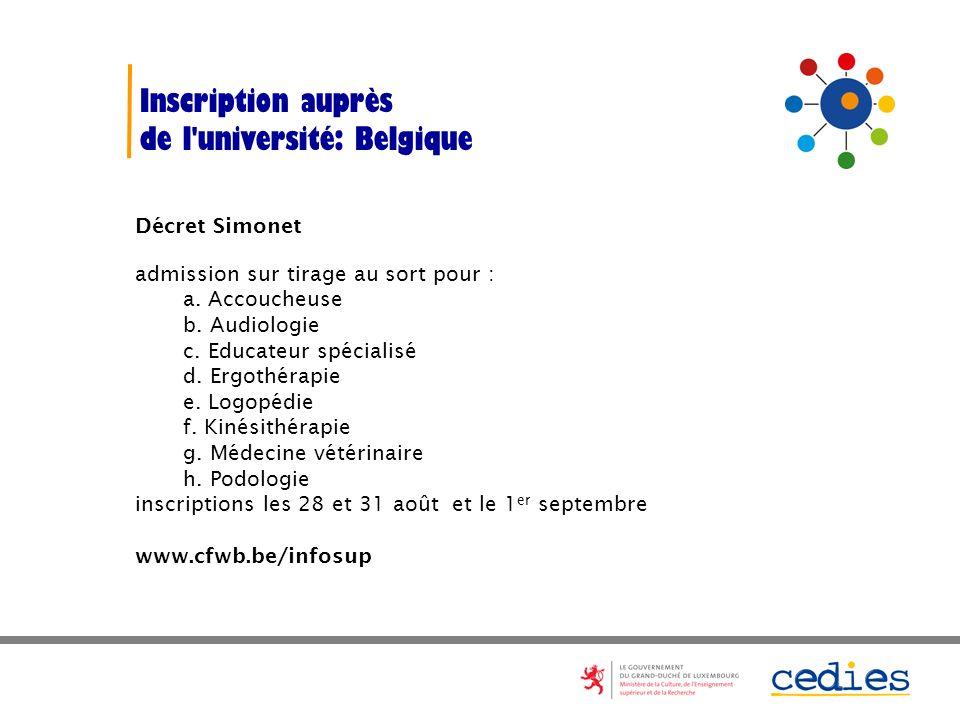 Inscription auprès de l université: Belgique Décret Simonet admission sur tirage au sort pour : a.