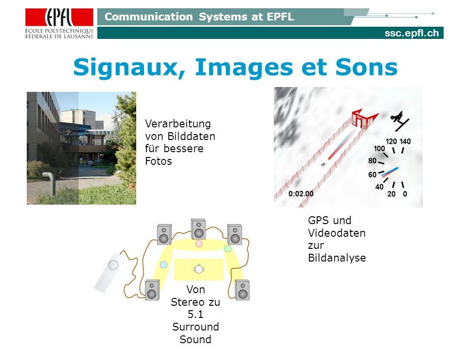 ssc.epfl.ch Communication Systems at EPFL Signaux, Images et Sons Von Stereo zu 5.1 Surround Sound GPS und Videodaten zur Bildanalyse Verarbeitung von Bilddaten für bessere Fotos