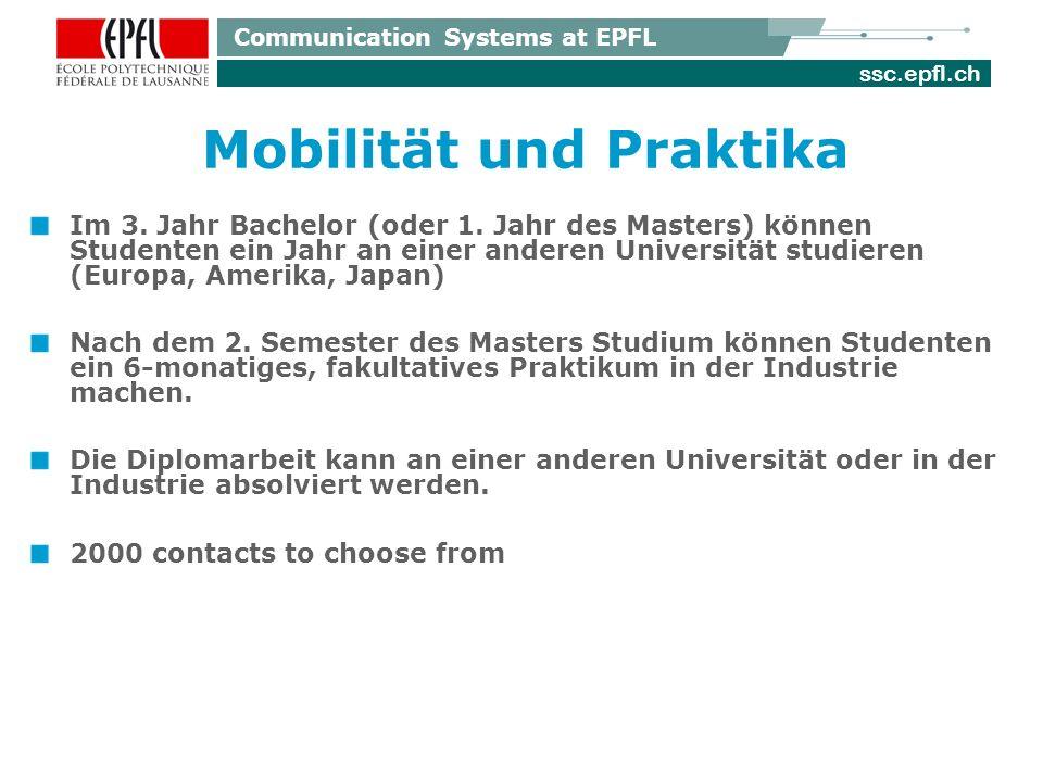 ssc.epfl.ch Communication Systems at EPFL Mobilität und Praktika Im 3.