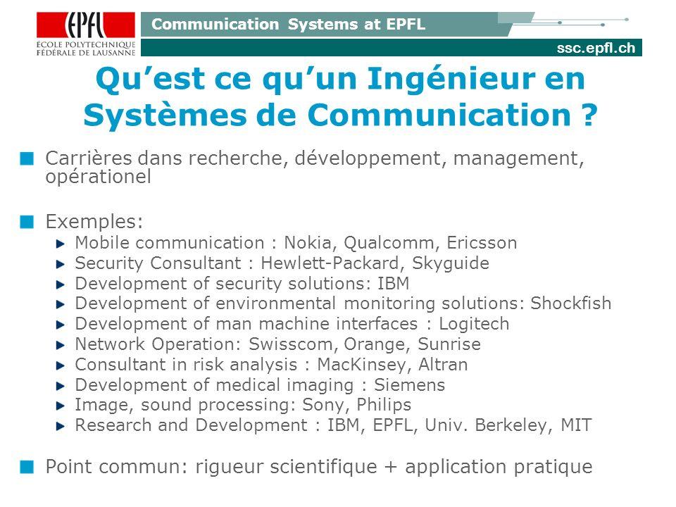 ssc.epfl.ch Communication Systems at EPFL Quest ce quun Ingénieur en Systèmes de Communication .