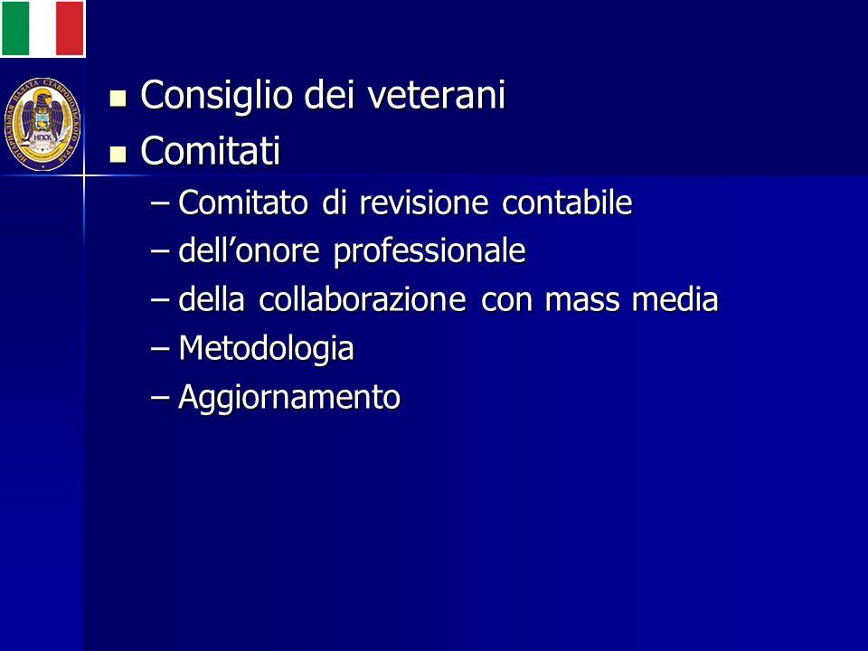 Consiglio dei veterani Consiglio dei veterani Comitati Comitati –Comitato di revisione contabile –dellonore professionale –della collaborazione con mass media –Metodologia –Aggiornamento