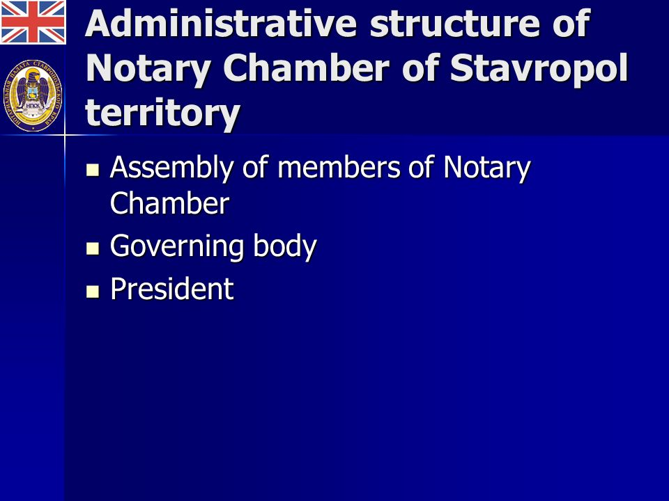 Administrative structure of Notary Chamber of Stavropol territory Assembly of members of Notary Chamber Assembly of members of Notary Chamber Governing body Governing body President President