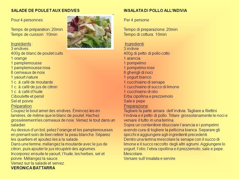 SALADE DE POULET AUX ENDIVES Pour 4 personnes Temps de préparation: 20min Temps de cuisson : 10min Ingrédients : 3 endives 400g de blanc de poulet cui