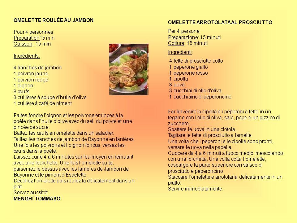 OMELETTE ROULÉE AU JAMBON Pour 4 personnes Préparation15 min Cuisson : 15 min Ingrédients: 4 tranches de jambon 1 poivron jaune 1 poivron rouge 1 oign