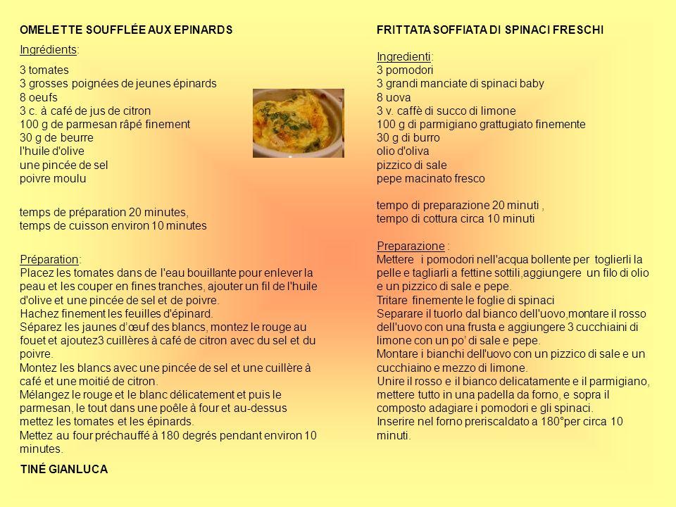 FRITTATA SOFFIATA DI SPINACI FRESCHI Ingredienti: 3 pomodori 3 grandi manciate di spinaci baby 8 uova 3 v. caffè di succo di limone 100 g di parmigian