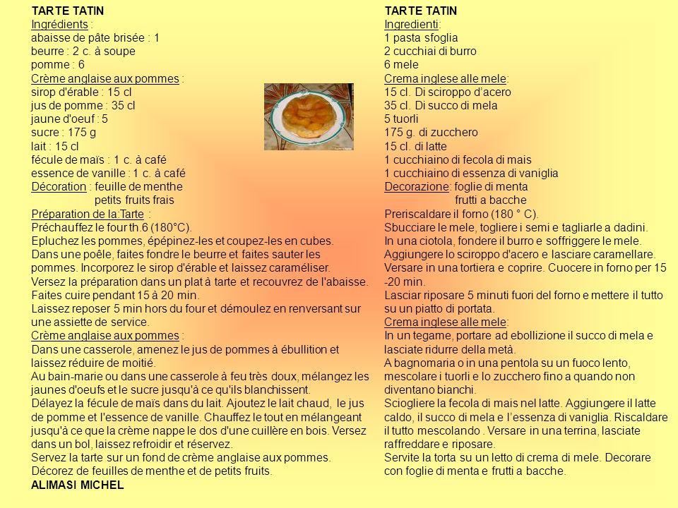 TARTE TATIN Ingrédients : abaisse de pâte brisée : 1 beurre : 2 c. à soupe pomme : 6 Crème anglaise aux pommes : sirop d'érable : 15 cl jus de pomme :