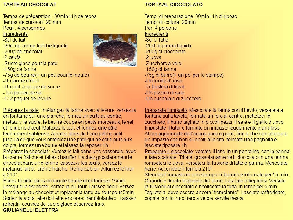 TARTE AU CHOCOLAT Temps de préparation : 30min+1h de repos Temps de cuisson : 20 min Pour : 4 personnes Ingrédients -8cl de lait -20cl de crème fraîch