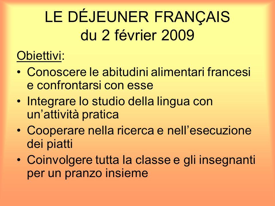 LE DÉJEUNER FRANÇAIS du 2 février 2009 Obiettivi: Conoscere le abitudini alimentari francesi e confrontarsi con esse Integrare lo studio della lingua