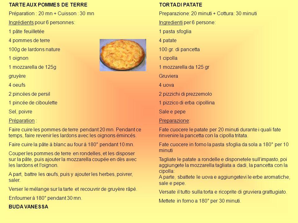 TARTE AUX POMMES DE TERRE Préparation : 20 mn + Cuisson : 30 mn Ingrédients pour 6 personnes: 1 pâte feuilletée 4 pommes de terre 100g de lardons natu