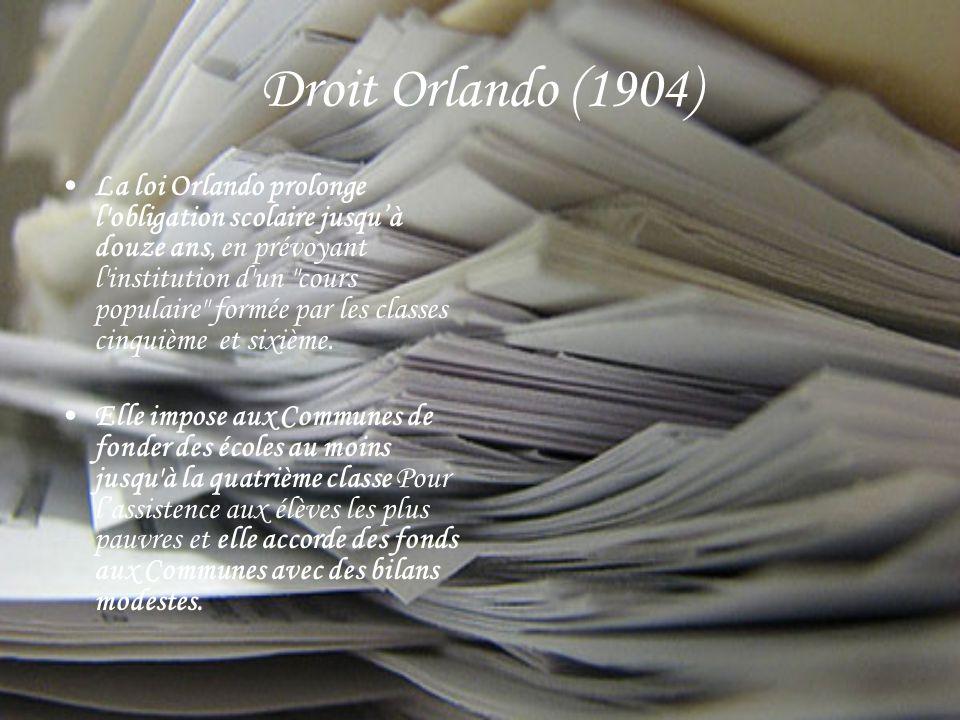 Droit Orlando (1904) La loi Orlando prolonge l obligation scolaire jusquà douze ans, en prévoyant l institution d un cours populaire formée par les classes cinquième et sixième.