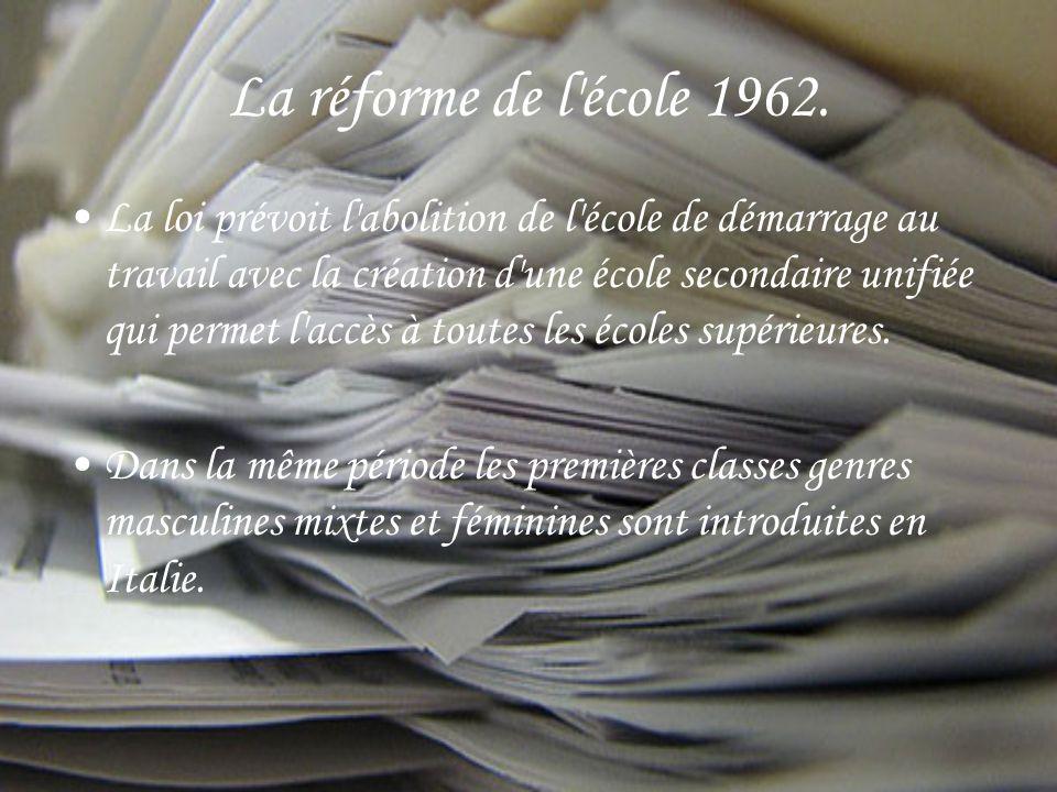 La réforme de l école 1962.