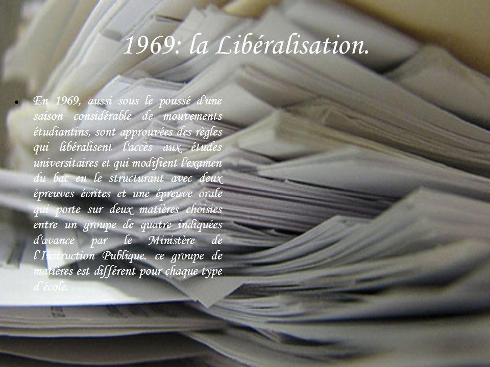 1969: la Libéralisation.