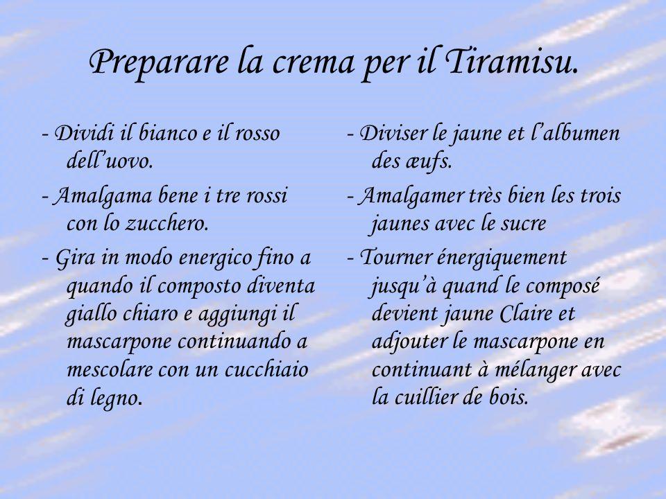 Preparare la crema per il Tiramisu.- Dividi il bianco e il rosso delluovo.