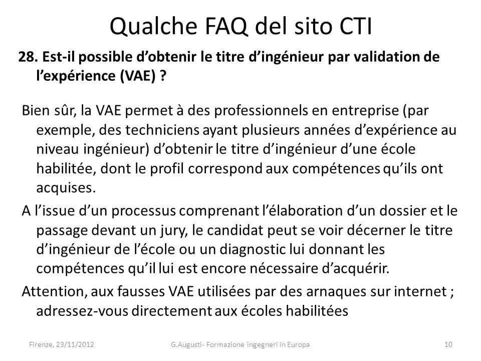 Qualche FAQ del sito CTI 28.