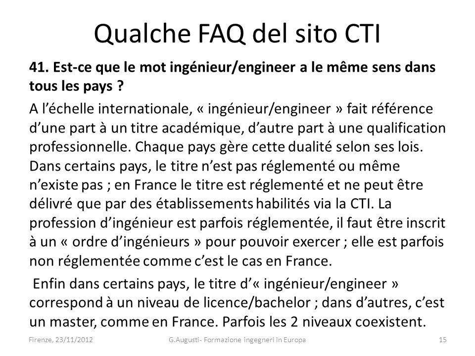 41. Est-ce que le mot ingénieur/engineer a le même sens dans tous les pays .