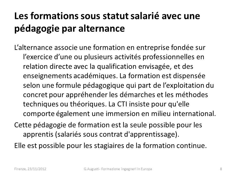 Les formations sous statut salarié avec une pédagogie par alternance Lalternance associe une formation en entreprise fondée sur lexercice dune ou plusieurs activités professionnelles en relation directe avec la qualification envisagée, et des enseignements académiques.