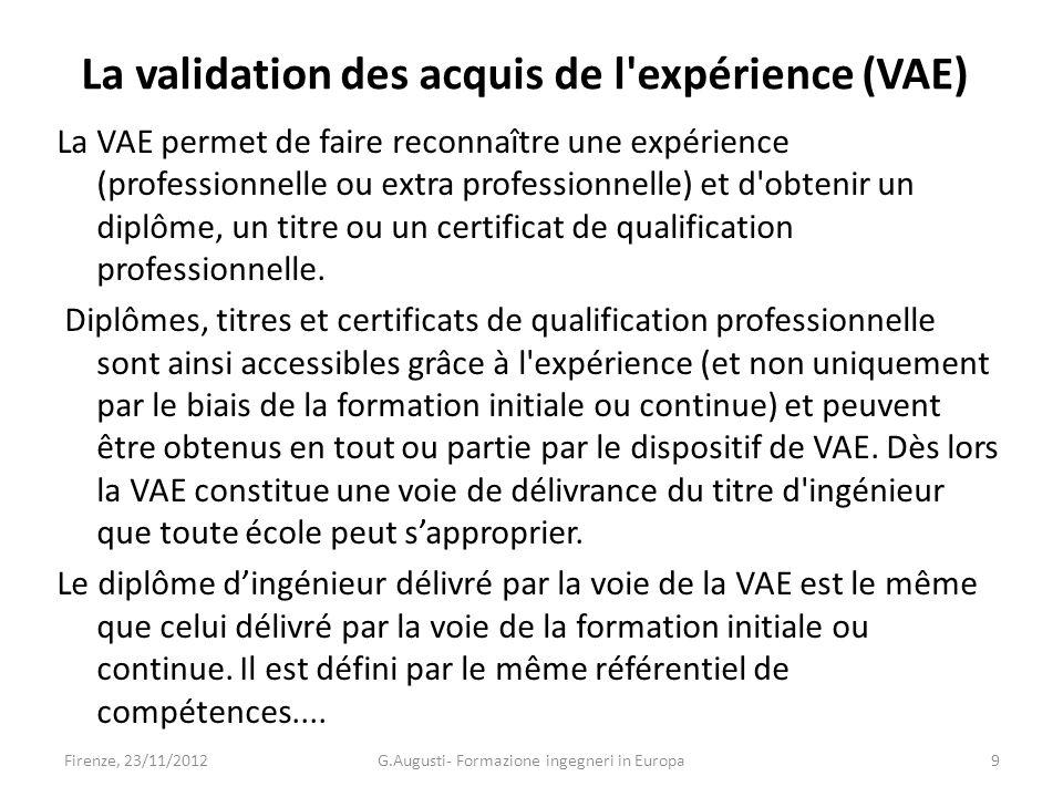 La validation des acquis de l expérience (VAE) La VAE permet de faire reconnaître une expérience (professionnelle ou extra professionnelle) et d obtenir un diplôme, un titre ou un certificat de qualification professionnelle.