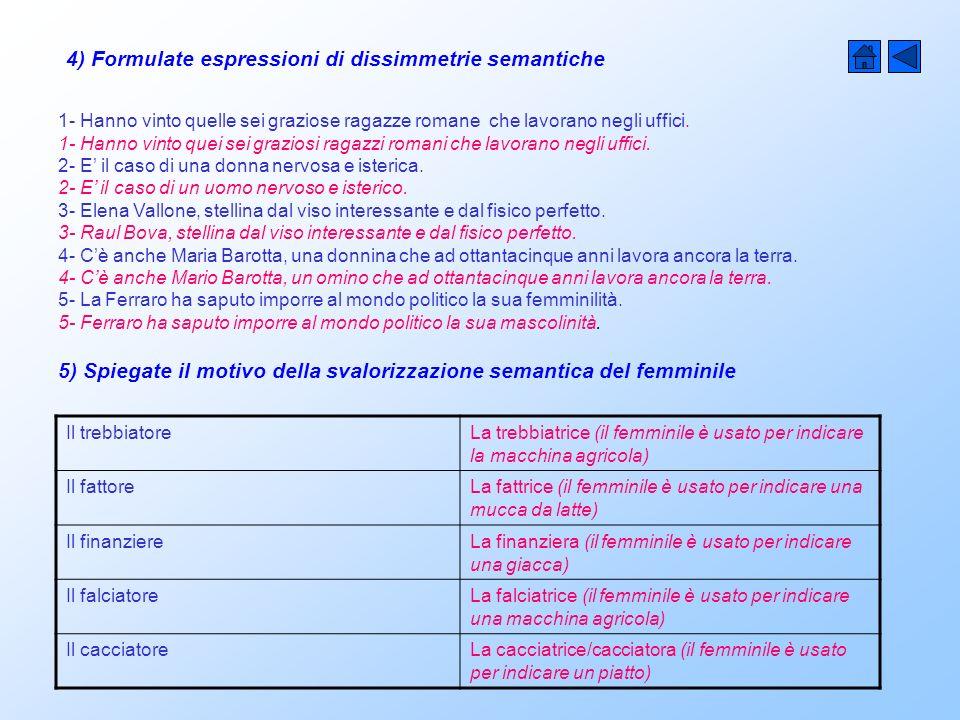 4) Formulate espressioni di dissimmetrie semantiche 1- Hanno vinto quelle sei graziose ragazze romane che lavorano negli uffici.