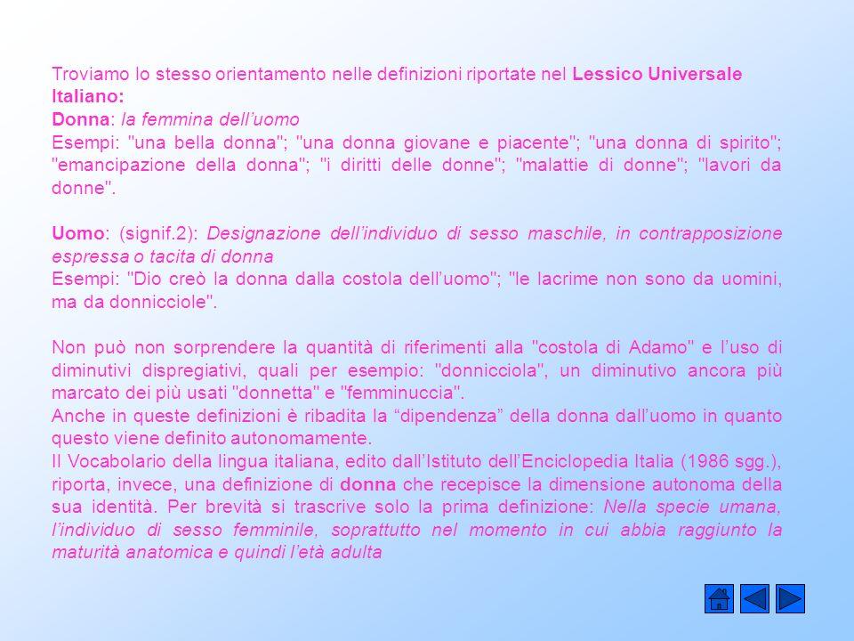 Troviamo lo stesso orientamento nelle definizioni riportate nel Lessico Universale Italiano: Donna: la femmina delluomo Esempi: una bella donna ; una donna giovane e piacente ; una donna di spirito ; emancipazione della donna ; i diritti delle donne ; malattie di donne ; lavori da donne .