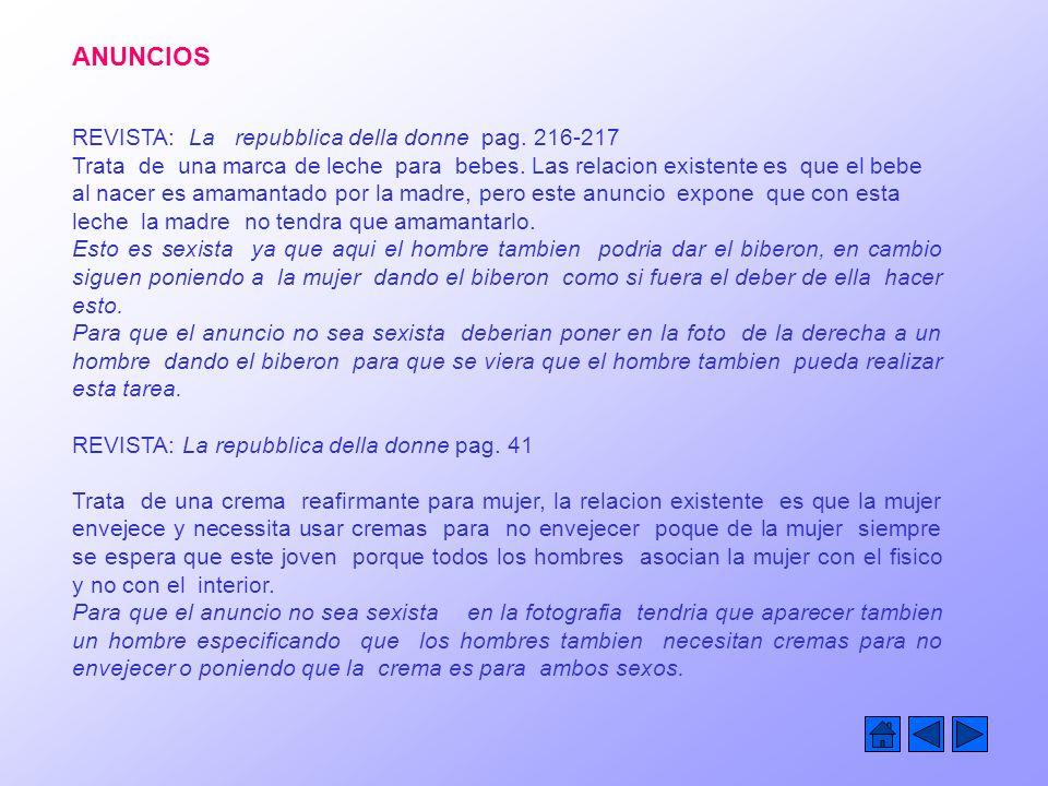 ANUNCIOS REVISTA: La repubblica della donne pag.216-217 Trata de una marca de leche para bebes.