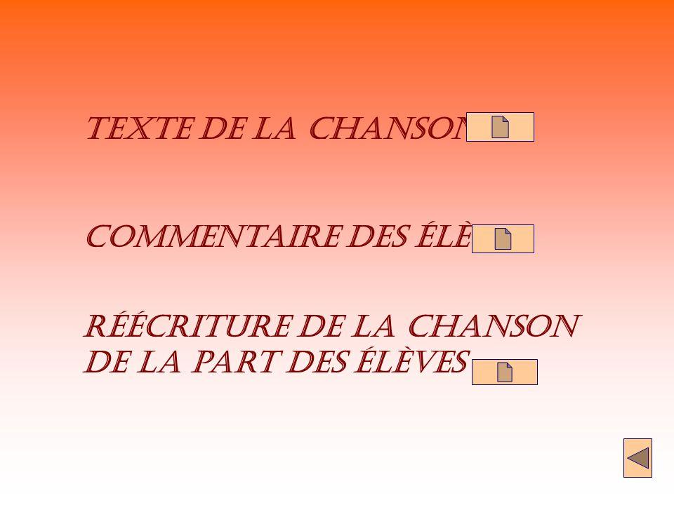 Texte de la Chanson Commentaire des élèves réécriture de la chanson de la part des élèves