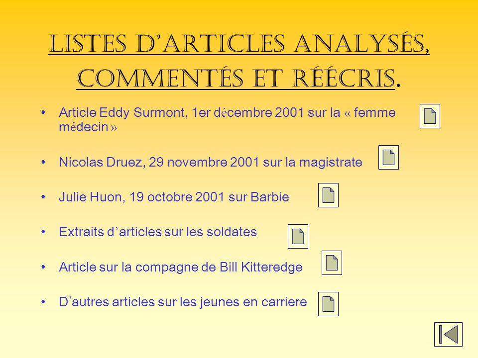 Listes darticles analysés, commentés et réécris.