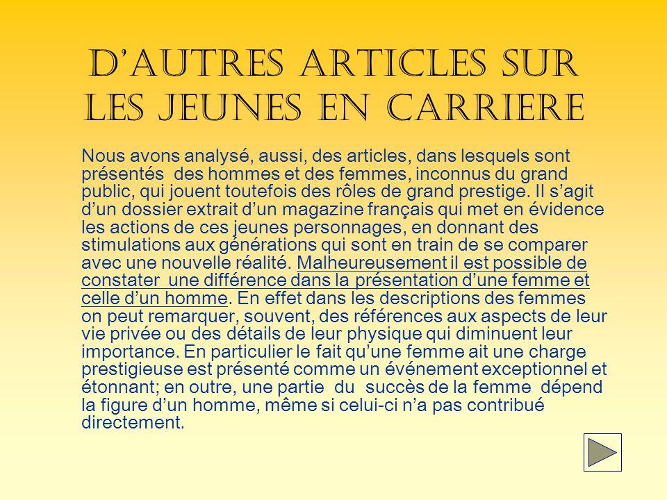 DAUTRES ARTICLES SUR LES JEUNES EN CARRIERE Nous avons analysé, aussi, des articles, dans lesquels sont présentés des hommes et des femmes, inconnus du grand public, qui jouent toutefois des rôles de grand prestige.