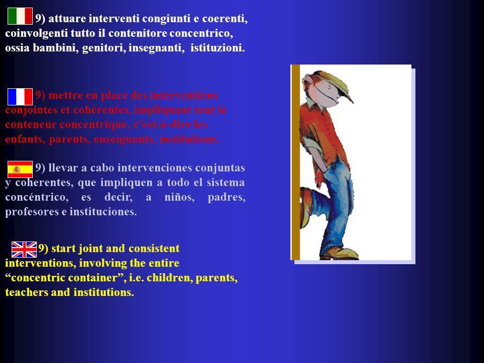 9) attuare interventi congiunti e coerenti, coinvolgenti tutto il contenitore concentrico, ossia bambini, genitori, insegnanti, istituzioni. 9) mettre