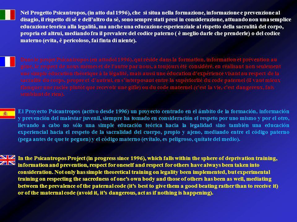 Nel Progetto Psicantropos, (in atto dal 1996), che si situa nella formazione, informazione e prevenzione al disagio, il rispetto di sè e dellaltro da