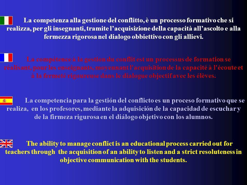 La competenza alla gestione del conflitto, è un processo formativo che si realizza, per gli insegnanti, tramite lacquisizione della capacità allascolt