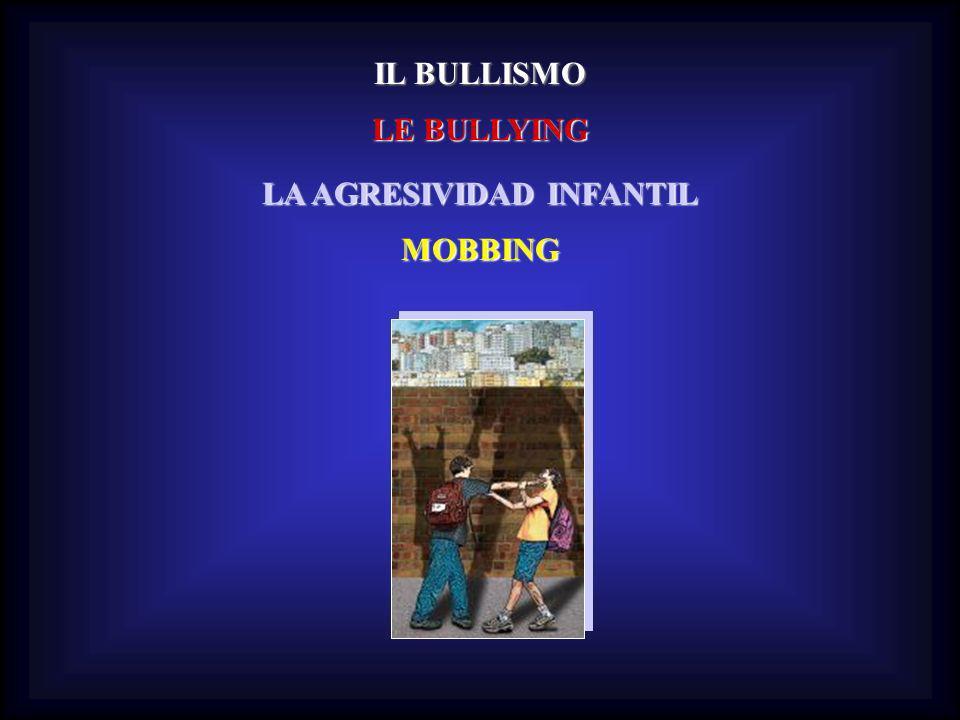 IL BULLISMO LE BULLYING LA AGRESIVIDAD INFANTIL MOBBING