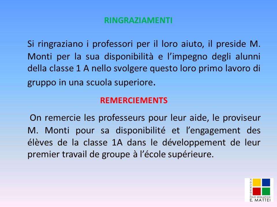 RINGRAZIAMENTI Si ringraziano i professori per il loro aiuto, il preside M. Monti per la sua disponibilità e limpegno degli alunni della classe 1 A ne