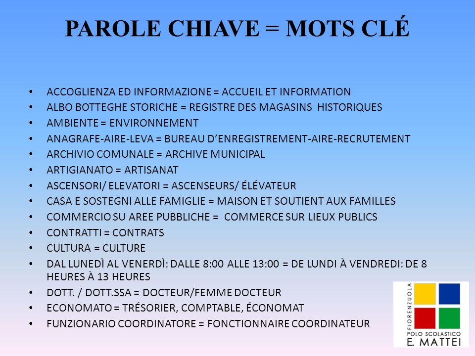 PAROLE CHIAVE = MOTS CLÉ ACCOGLIENZA ED INFORMAZIONE = ACCUEIL ET INFORMATION ALBO BOTTEGHE STORICHE = REGISTRE DES MAGASINS HISTORIQUES AMBIENTE = EN