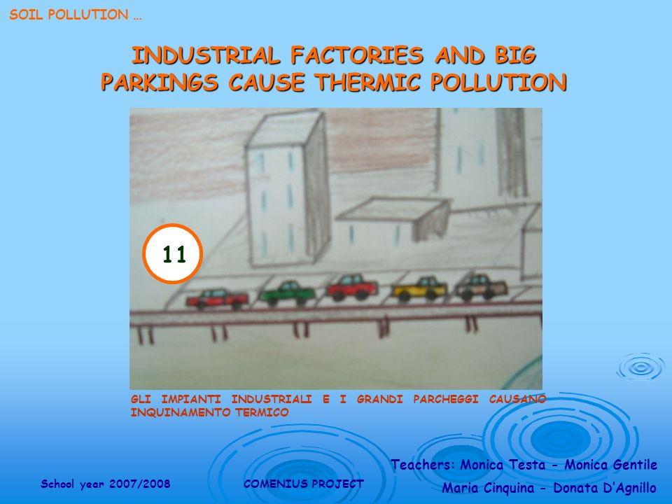 Teachers: Monica Testa - Monica Gentile Maria Cinquina - Donata DAgnillo School year 2007/2008COMENIUS PROJECT SOIL POLLUTION … 11 GLI IMPIANTI INDUSTRIALI E I GRANDI PARCHEGGI CAUSANO INQUINAMENTO TERMICO INDUSTRIAL FACTORIES AND BIG PARKINGS CAUSE THERMIC POLLUTION