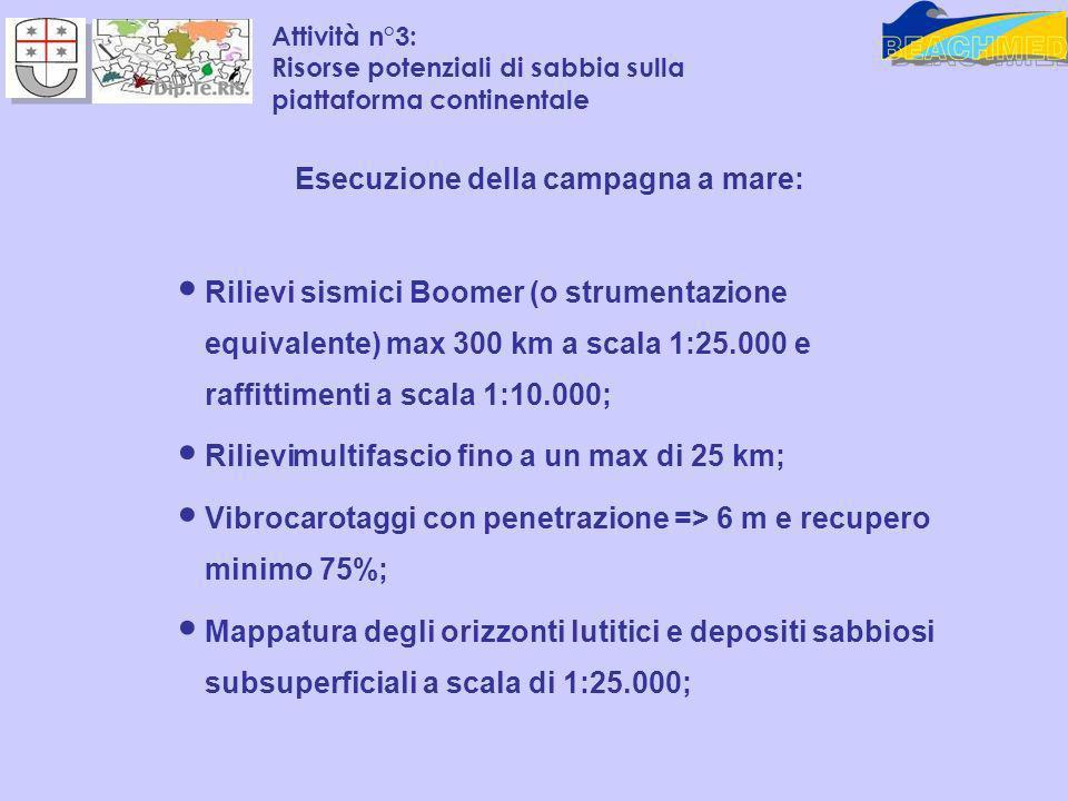Esecuzione della campagna a mare: Rilievi sismici Boomer (o strumentazione equivalente) max 300 km a scala 1:25.000 e raffittimenti a scala 1:10.000;