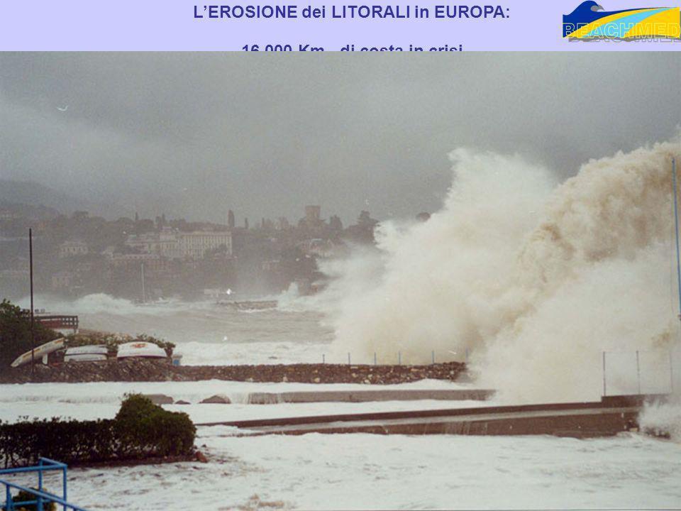 LEROSIONE dei LITORALI in EUROPA: 16.000 Km di costa in crisi