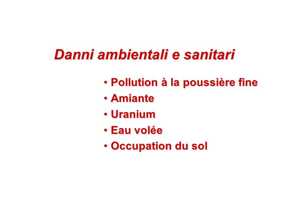 Danni ambientali e sanitari Danni ambientali e sanitari Pollution à la poussière finePollution à la poussière fine AmianteAmiante UraniumUranium Eau v