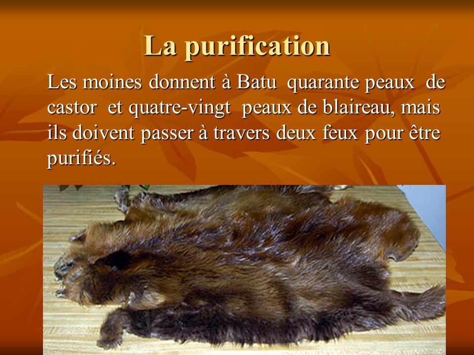 La purification Les moines donnent à Batu quarante peaux de castor et quatre-vingt peaux de blaireau, mais ils doivent passer à travers deux feux pour