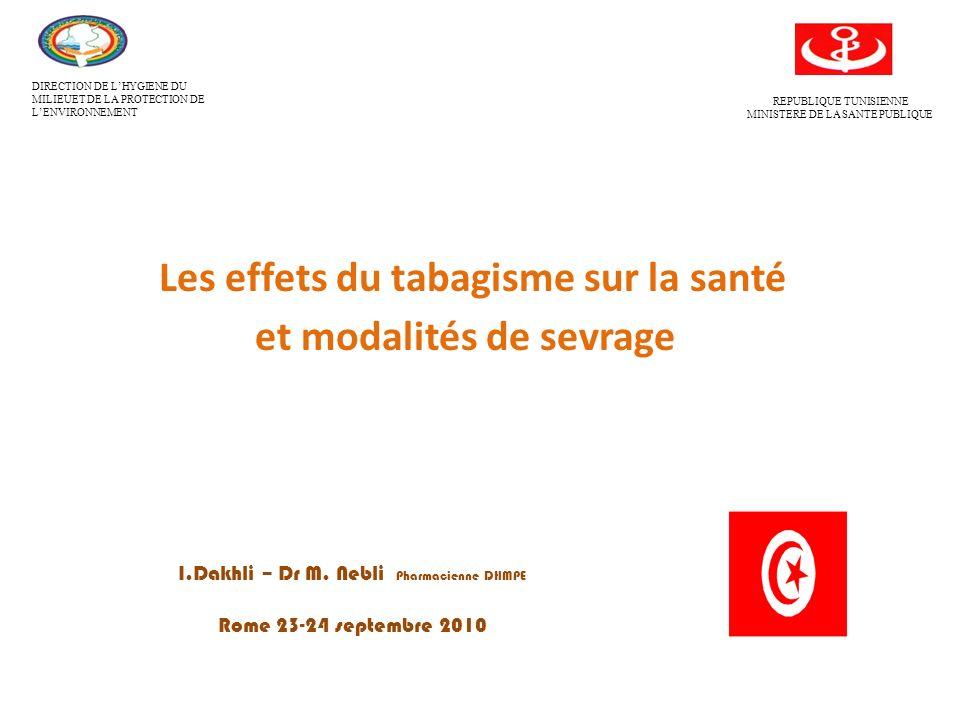 Les effets du tabagisme sur la santé et modalités de sevrage DIRECTION DE LHYGIENE DU MILIEUET DE LA PROTECTION DE LENVIRONNEMENT REPUBLIQUE TUNISIENNE MINISTERE DE LA SANTE PUBLIQUE I.Dakhli – Dr M.