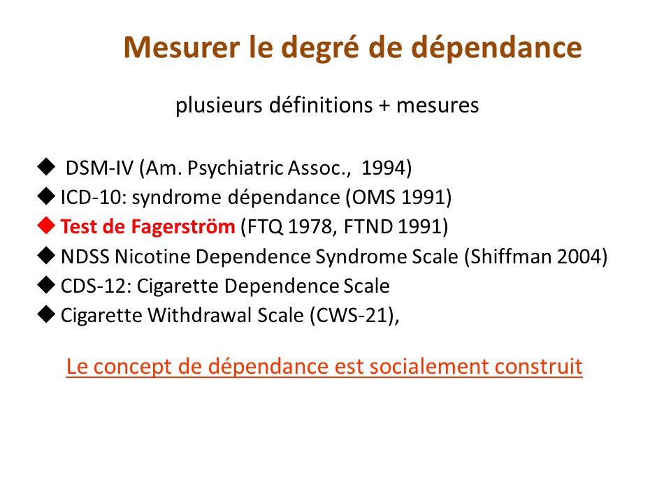 Mesurer le degré de dépendance plusieurs définitions + mesures DSM-IV (Am.