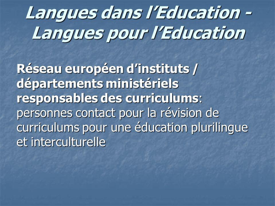 Langues dans lEducation - Langues pour lEducation Réseau européen dinstituts / départements ministériels responsables des curriculums: personnes conta