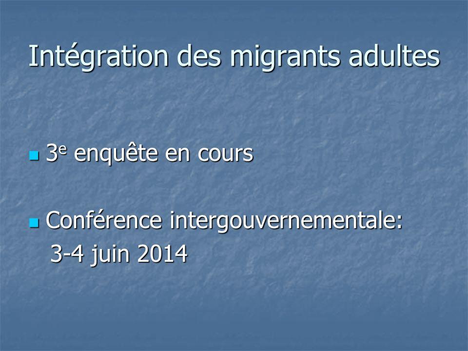 Intégration des migrants adultes 3 e enquête en cours 3 e enquête en cours Conférence intergouvernementale: Conférence intergouvernementale: 3-4 juin